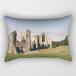 Moon over old Priory ruins at sunrise. Norfolk, UK. Rectangular Pillow