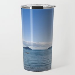 Chilling on the beach in Oamaru Bay, Coromandel Travel Mug