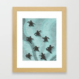 Loggerhead sea turtle hatchlings Framed Art Print