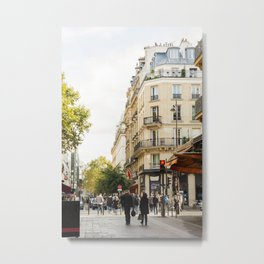 Walking through a parisian street Metal Print