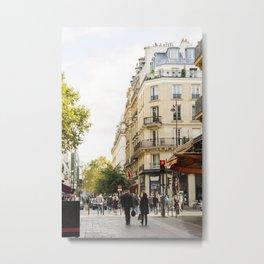 Walking through a parisian street Metal Print