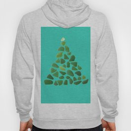 Green Sea Glass Tree on Turquoise #seaglass #Christmas Hoody