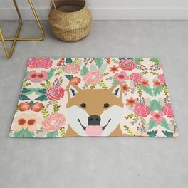Shiba Inu florals spring summer bright girly hipster dog meme shiba ink puppy pet portraits Rug