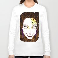 bianca green Long Sleeve T-shirts featuring The panther, Bianca  by Francine Oliveira