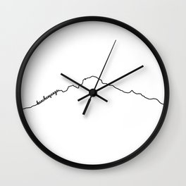 Kanchenjunga Art Print / White Background Black Line Minimalist Mountain Sketch Wall Clock