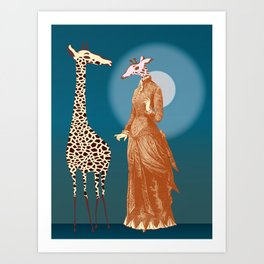 Giraffes - Late night rendezvous Art Print