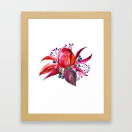 Bouquet, Rose, Bud, Berry, Leaf, Shabby, Cottage, Chick, Design, Original, Unique Framed Art Print