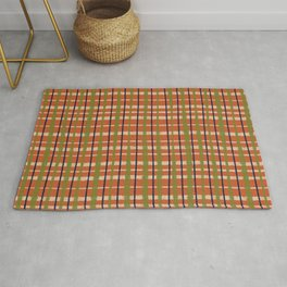 Retro Picnic Painted Stripes Woven Pattern in Mid Century Mod Orange, Olive Green, Beige, and Blue Rug
