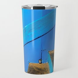 blue and brown old wood stairs with blue wall background Travel Mug