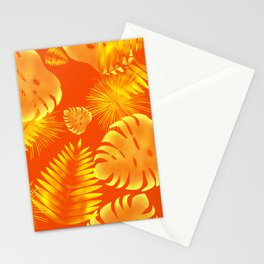 Orange Tropical Leaves Stationery Cards