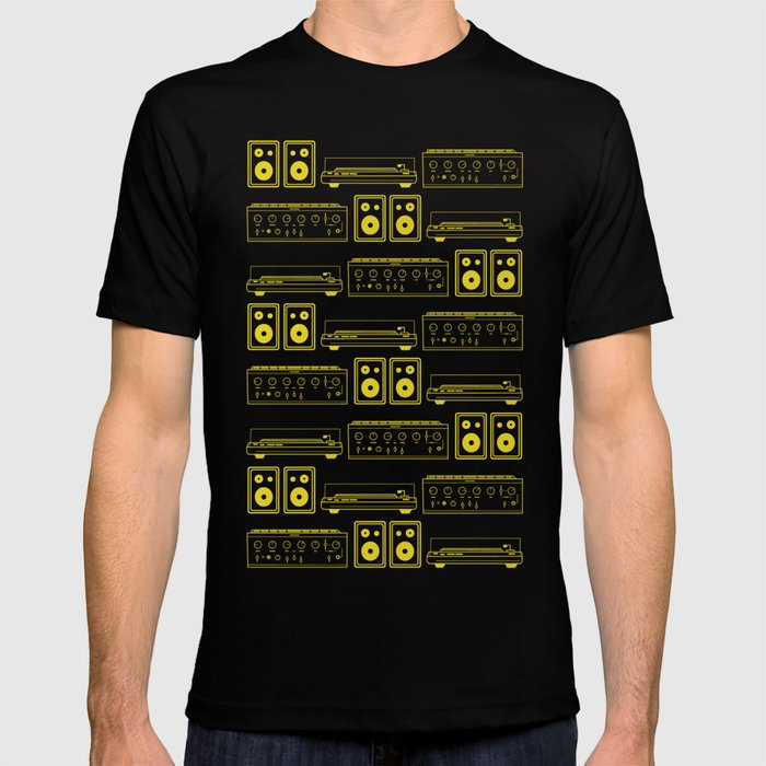 0f919a7c2f95c 70's Record Player, Amplifier and Speakers in yellow and grey T-shirt by  vonstengel