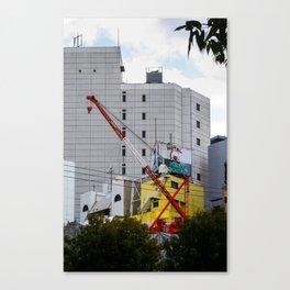red crane on yellow Canvas Print