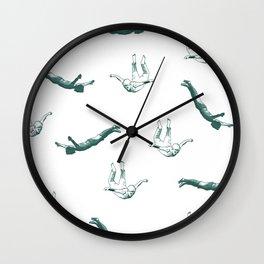 Free falling in green Wall Clock
