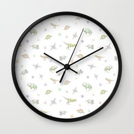 Hand drawn pattern with dinosaurs. Сolored pencils, white background. Wall Clock