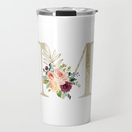M Monogram Gold Foil Initial with Watercolor Flowers Travel Mug