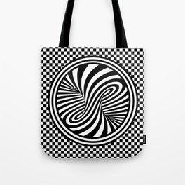 Black & White Twist & Check Design Tote Bag