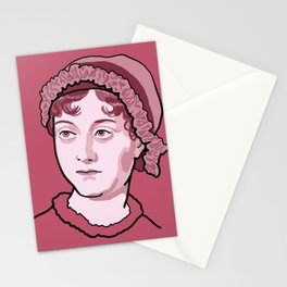 Jane Austen Red Pink Stationery Cards