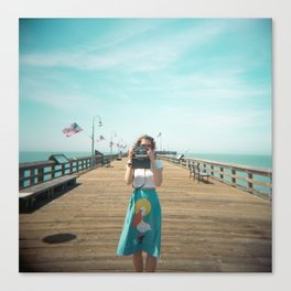 Camera Girl on the California Coast - Holga Photo Canvas Print