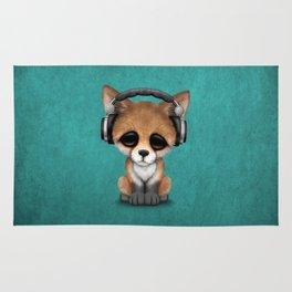 Cute Red Fox Cub Dj Wearing Headphones on Blue Rug
