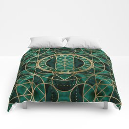 Web of Wyrd The Matrix of Fate - Gold and Malachite Comforters