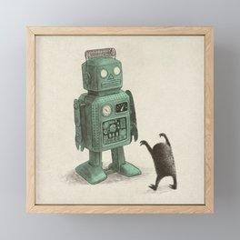 Robot Vs Alien Framed Mini Art Print