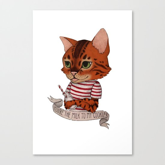 FRANKIE THE CAT - white Canvas Print