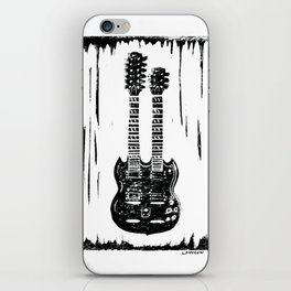 Slash's (Guns N' Roses) Gibson EDS-1275 guitar linocut print iPhone Skin
