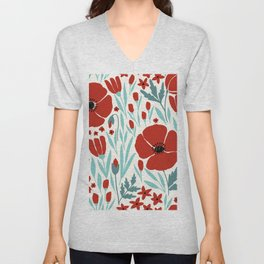 Red Poppies With Cold Blue Leaves Unisex V-Neck