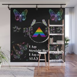 I am Straight But I Am an Ally - Black Wall Mural
