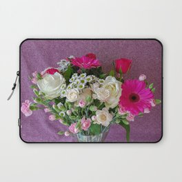 Flowers in a vase - pink gerberas, carnations, daisies, red and white roses Laptop Sleeve