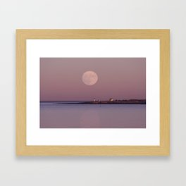 Lighthouse Moonrise Framed Art Print