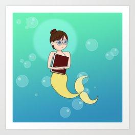 Bookish Mermaid Art Print