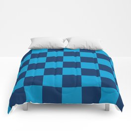 Chess blocks pattern in 2 colors blue Comforters
