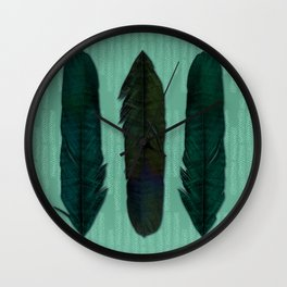 Mint green and feathers Wall Clock
