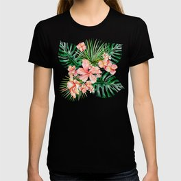 Tropical Jungle Hibiscus Flowers - Floral T-shirt