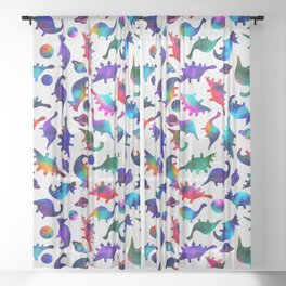 Rainbow Galaxy Watercolor Dinosaurs In Space Sheer Curtain