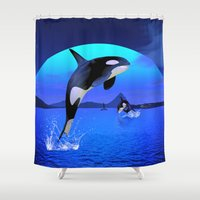 orca Shower Curtains featuring Orca by Simone Gatterwe