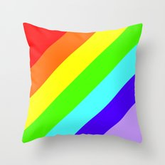 Stripes Diagonal Rainbow Throw Pillow