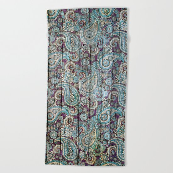 Kashmir on Wood 06 Beach Towel