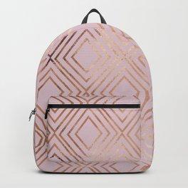 Elegant pink gold geometrical argyle gradient Backpack