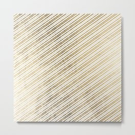 Chic modern elegant white glam faux gold stripes Metal Print