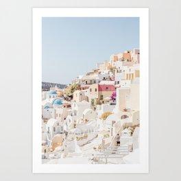 Pastel Oia Art Print