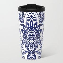 damask blue and white Travel Mug