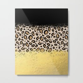 Wilder - black gold foil cheetah print animal pattern spots dots bold modern design sparkle glitter Metal Print