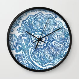 Blue Boho Paisley Pattern II Wall Clock