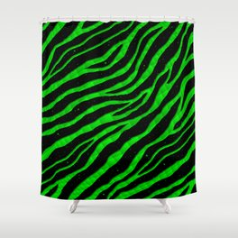 Ripped SpaceTime Stripes - Green Shower Curtain