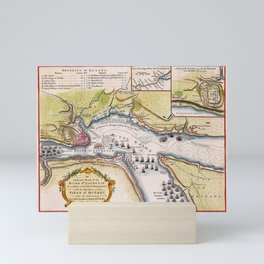 Vintage Map Print - Quebec City and River St. Laurence from Sillery to Montmorency Falls (1759) Mini Art Print