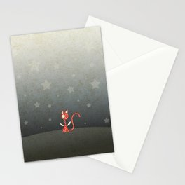 Small winged polka-dotted red cat and stars Stationery Cards
