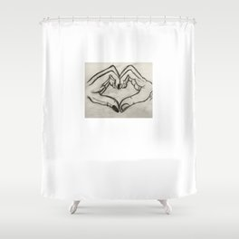 Minimal charcoal draw - heart Shower Curtain