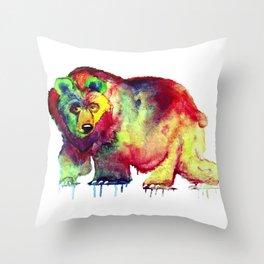 Coloured Bear Throw Pillow